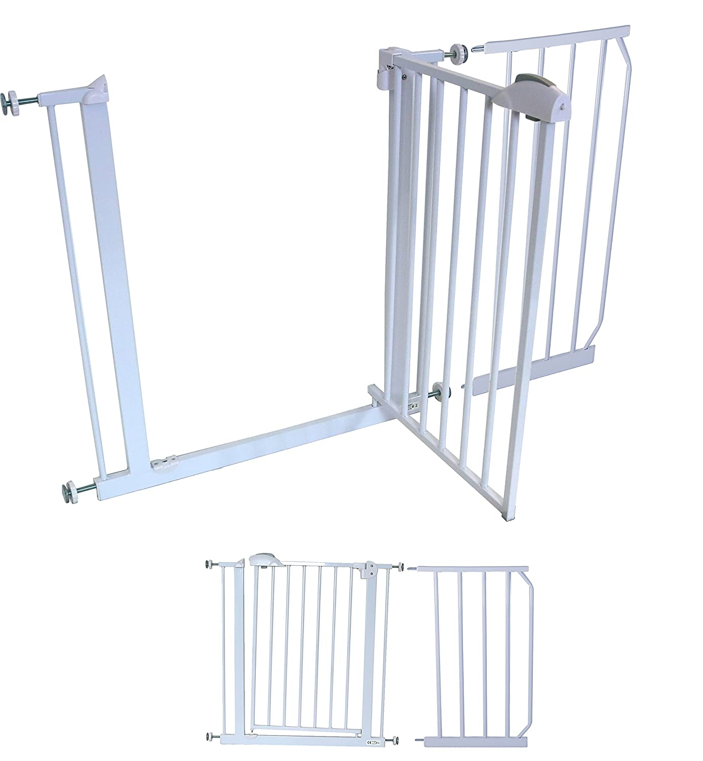 iSafe DeLuxe Stair Gate 90° STOP OPEN & Auto-Close StairGate (+ 30 CM Extension) AutoClose