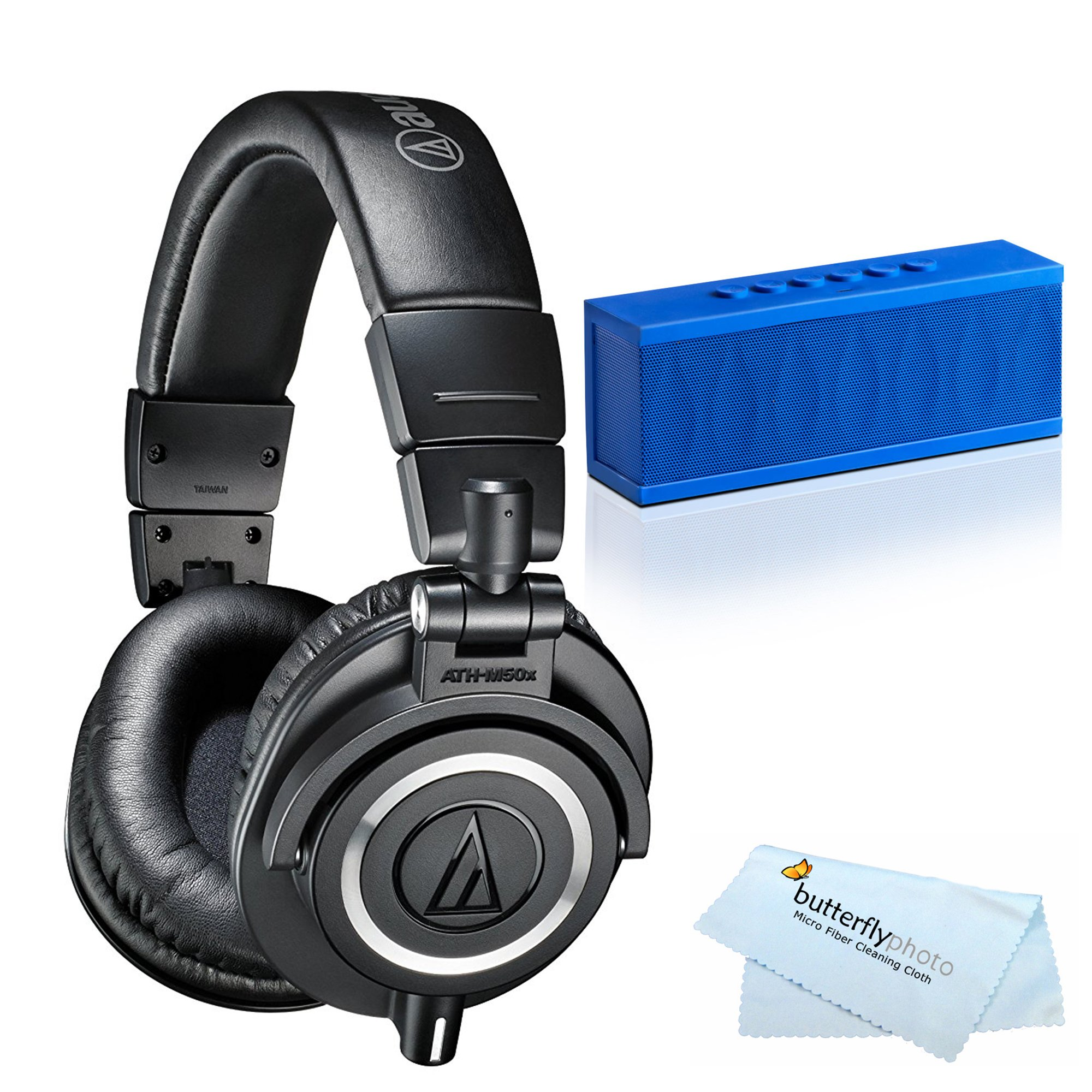 Audio-Technica ATH-M50x Professional Studio Monitor Headphones + BONUS Photive CYREN Portable Wireless Bluetooth Speaker with Built in Speakerphone