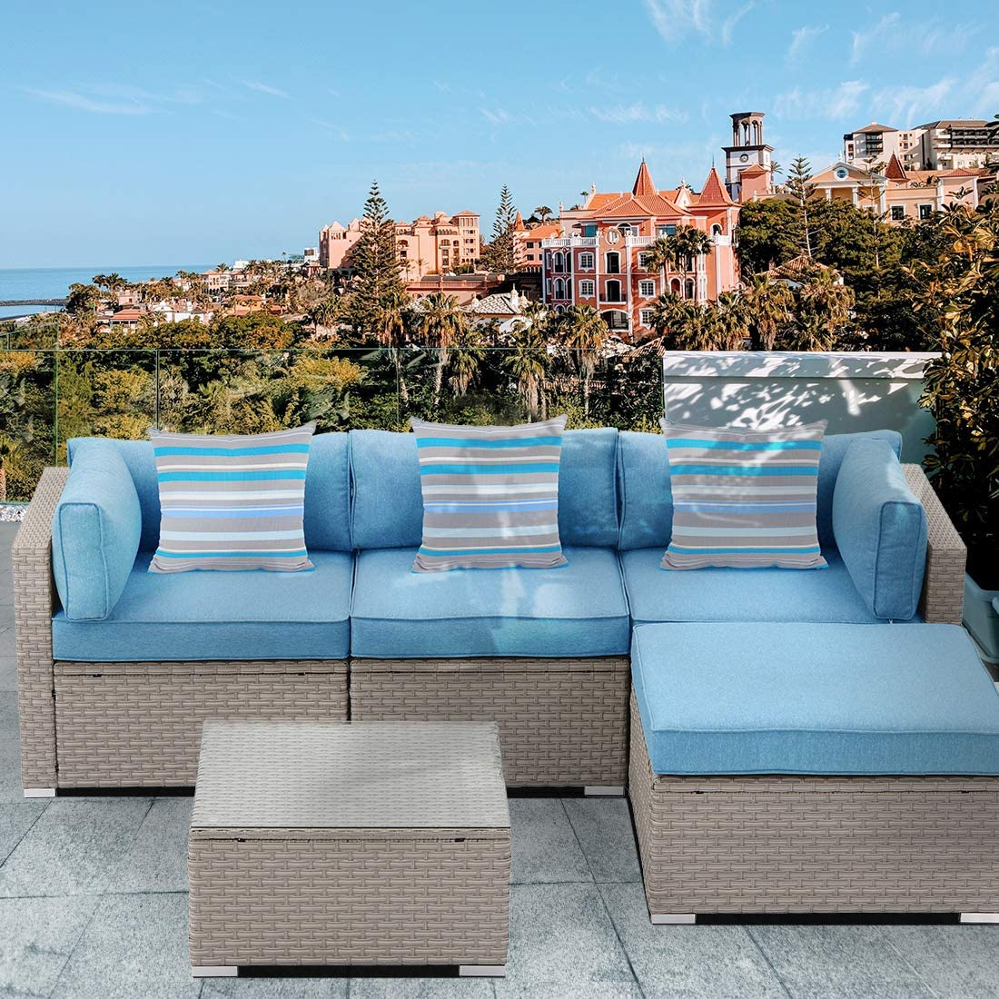 HOMPUS Outdoor Sectional Sofa 5-Piece All Weather Patio Handwoven Wicker Furniture Set w Royal Blue Seat Cushions, Glass Coffee Table, 3 Blue Pillows for Garden
