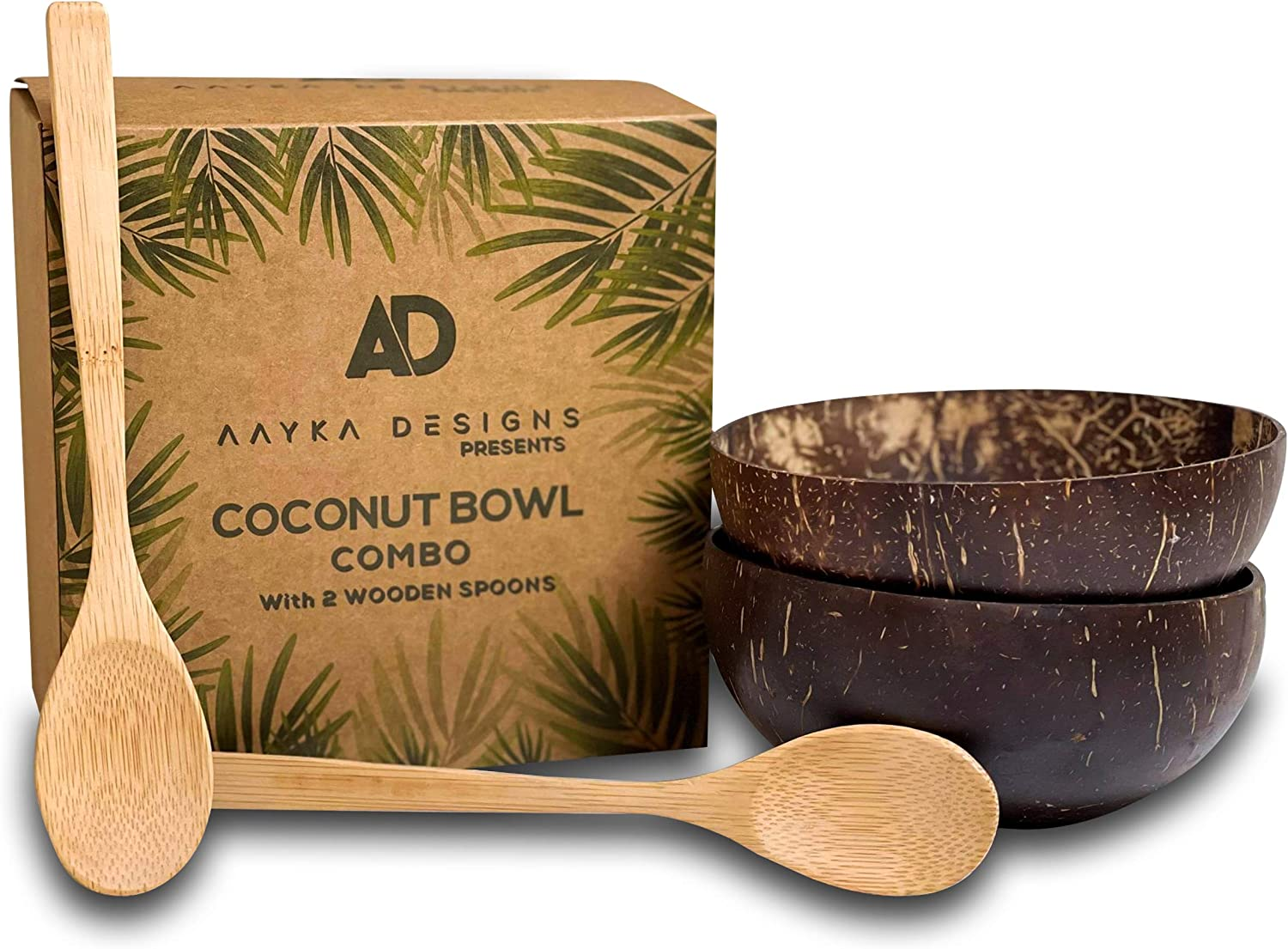 Aayka designs 2 Coconut Bowls With 2 Bamboo Spoons For Salad, Smoothies, Acai Or Buddha Bowl, Polished And Handmade