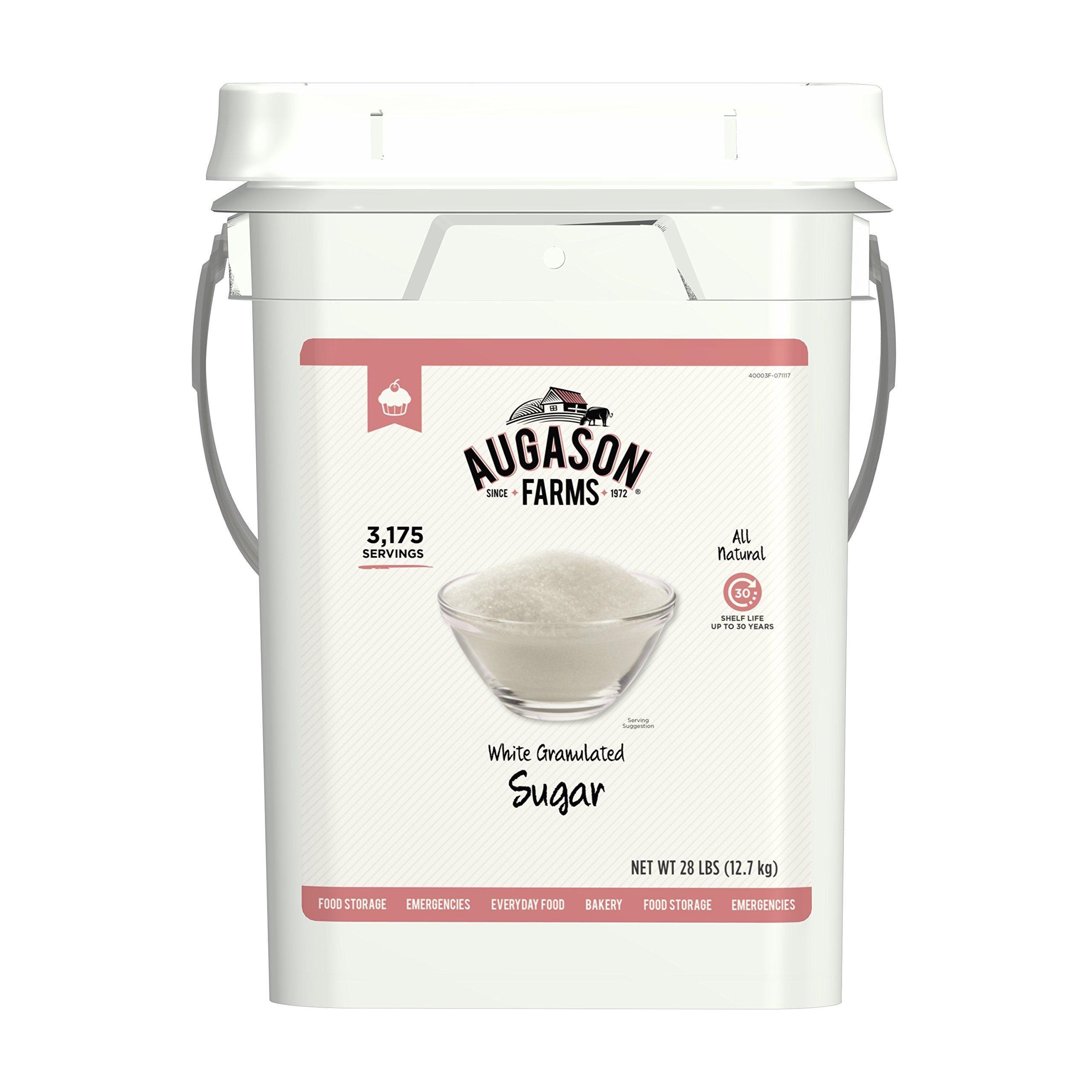 Augason Farms White Granulated Sugar 28 Pound Pail by Augason Farms