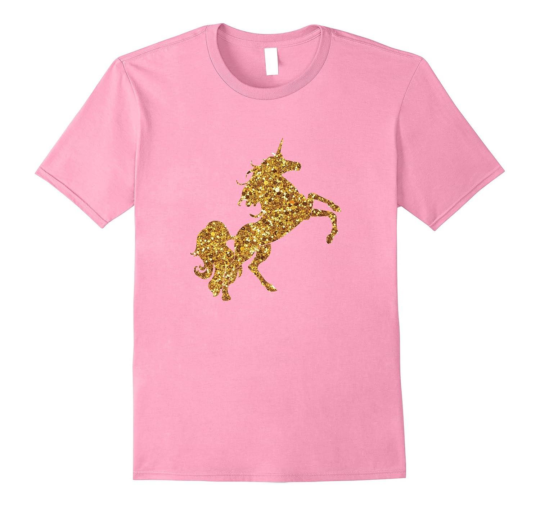 Gold Glitter Style Unicorn T Shirt-ANZ