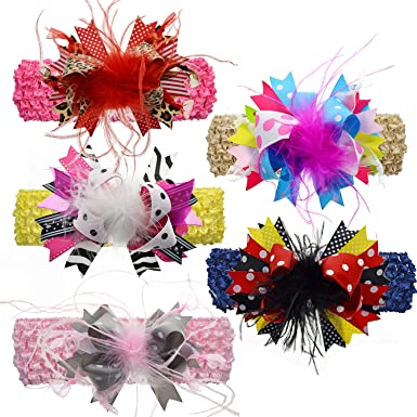 LCLHB Cinta de pelo elástica para niñas con lazos grandes ...