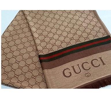 "dff75a7d1281cf ""GG"" Monogram Small Logo Designer Scarf Inspired, Gold Fashion  Wrap Pashmina Gift"