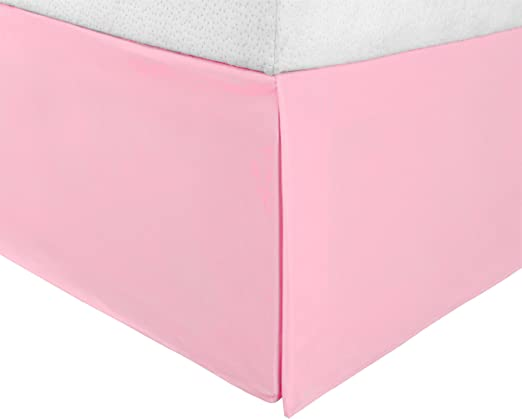 """Queen Pleated Sides and Split Corners Fade and Wrinkle Resistant Superior 1500 Series Premium Quality 100/% Brushed Microfiber Bed Skirt with 15/"""" Drop Pink"""