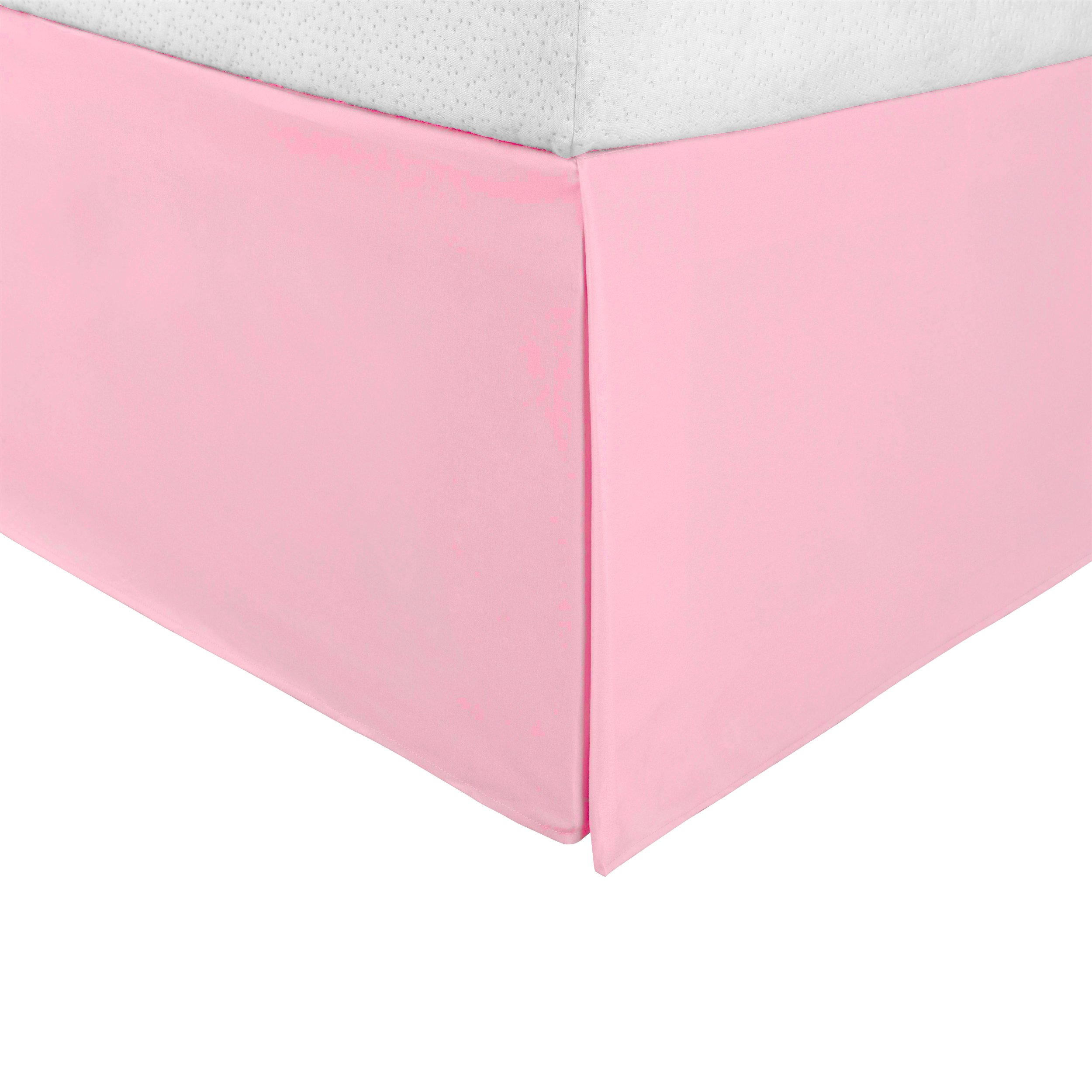 """Superior Infinity Luxury Soft 100% Brushed Microfiber Tailored Bed Skirt with 15"""" Drop, Wrinkle Resistant with Pleats and Split Corners - Queen Bedskirt, Pink"""