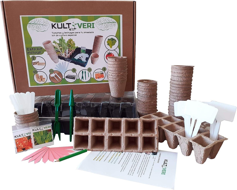 KULTIVERI Set de Cultivo de 78 Piezas: Bandeja de Plástico con Semilleros de Germinación Biodegradables. Invernadero Pequeño para Crear tu Huerto.