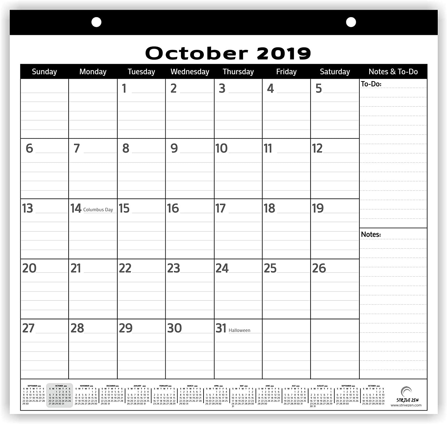Magnetic Fridge Calendar 2019-2020 by StriveZen, 2 Strong Magnets for Refrigerator, Monthly October 2019 -December 2020, 10x10 Inch, Desktop, Gift, Teacher Family Mom Office (Minimalist)