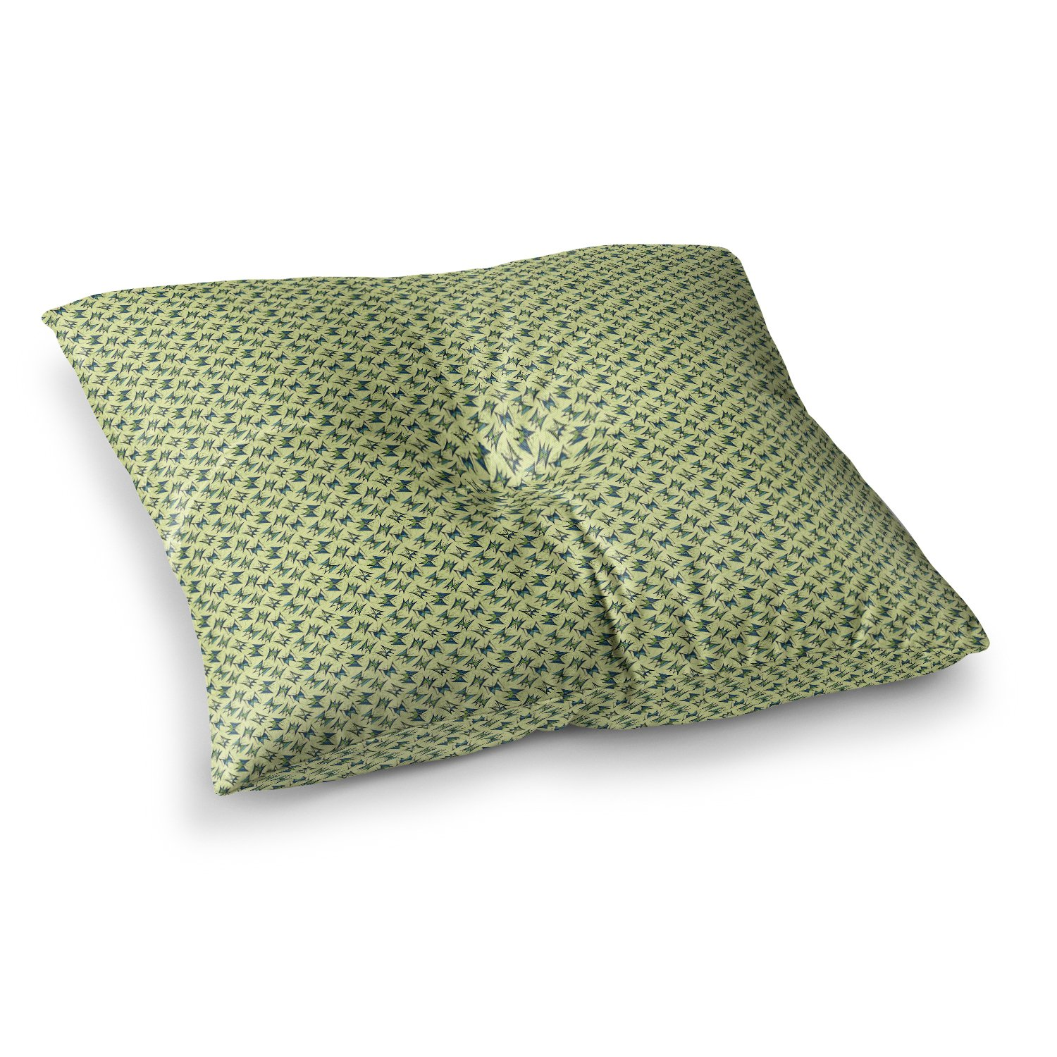 Kess InHouse Holly Helgeson Flutterby Yellow Lime, 23' x 23' Square Floor Pillow