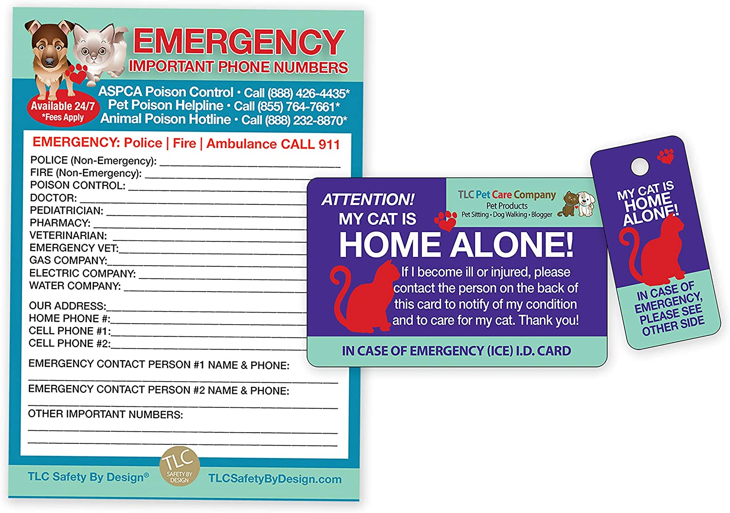TLC Safety By Design My CAT is Home Alone Pet Alert Emergency ICE ID Plastic Wallet Card and Keytag with Emergency Contact Call Card