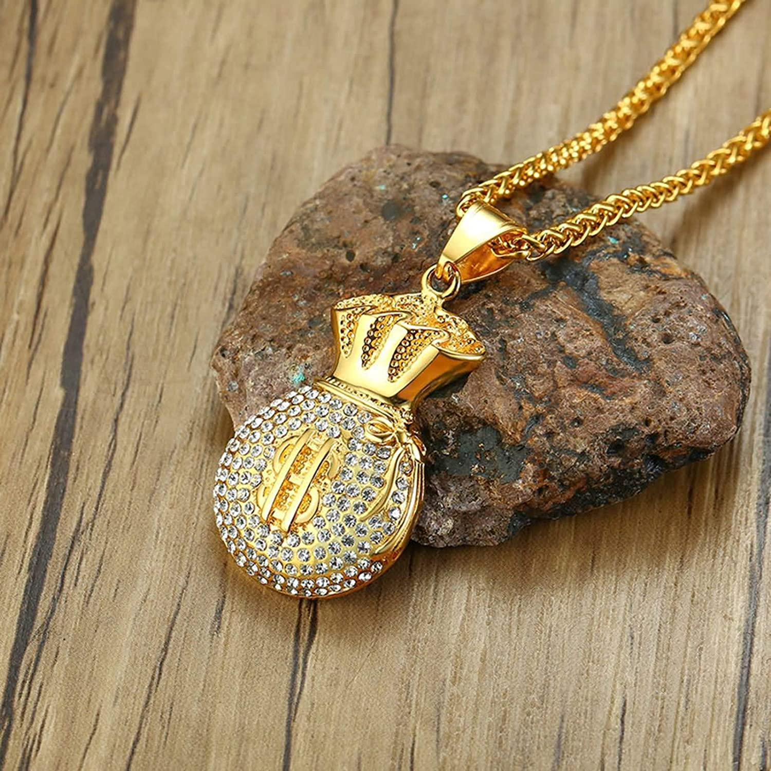 Gnzoe Mens Stainless Steel Dollar Sign Money Bag Pendant Necklaces Gold