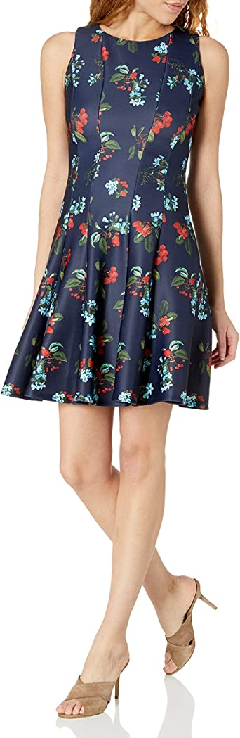 Taylor Dresses Womens Printed Skirt Fit and Flare Dress