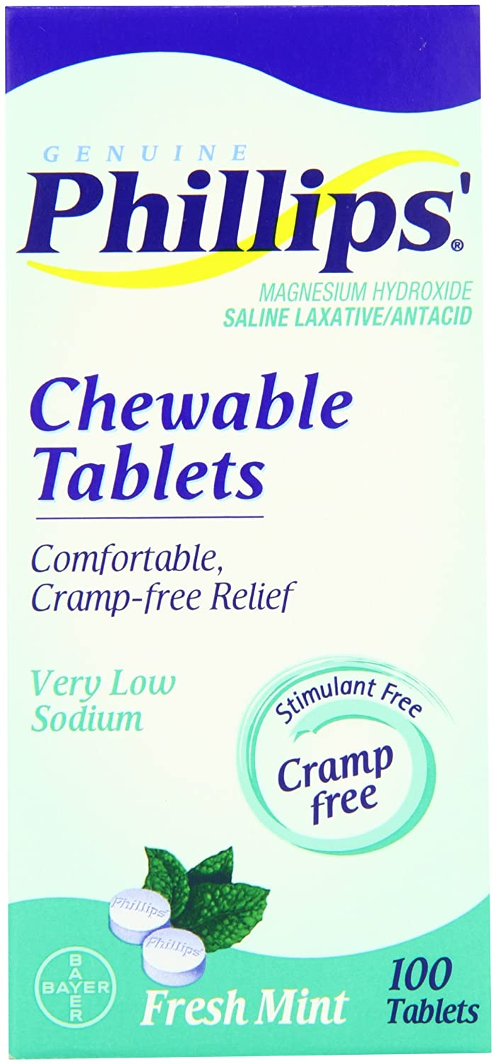 Amazon.com: Phillips Mint Chewable Laxative Tablets, 100-Count Box (Pack of 3): Health & Personal Care
