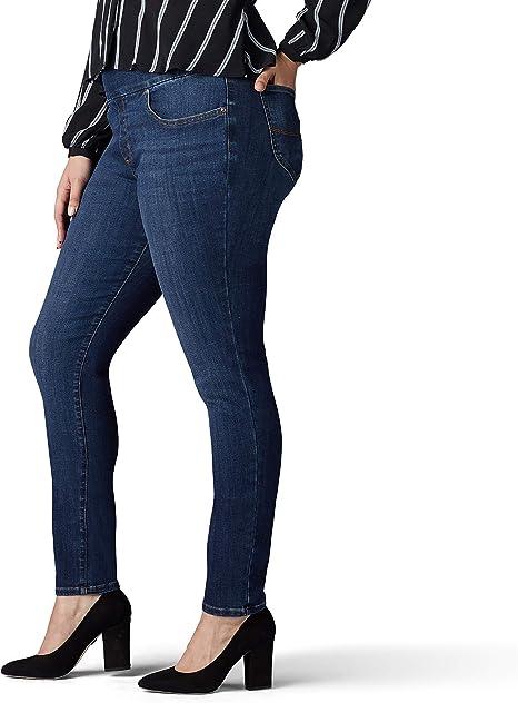 Lee Womens Plus Size Sculpting Slim Fit Skinny Leg Pull on Jean