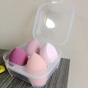 4 Pcs Dry and Wet Use Makeup Sponge Set Blender Beauty Foundation Blending Sponge for Liquid, Cream, and Powder with Egg Sponge Blending Holder Box