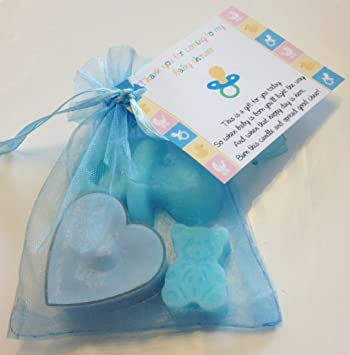 5 X Baby Shower Soap Candle Favours Blue Pink Yellow Girl Boy
