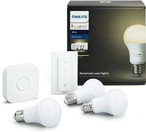 Philips Hue Kit de Démarrage Blanc avec 3XE27 9W [Pont et Télécommande avec Variateur Inclus] - Fonctionne avec Alexa