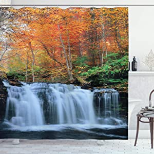"Ambesonne Waterfall Shower Curtain, Waterfalls in Autumn Season Nature Park with Colorful Foliage Trees, Cloth Fabric Bathroom Decor Set with Hooks, 70"" Long, Brown Orange"