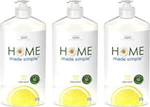 Home Made Simple Dish Soap Natural Dishwashing Liquid, Lemon Scent, 48 Fluid Ounce