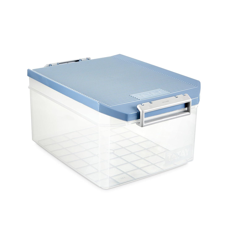 Práctica caja transparente de 14l con tapa. Opción de tamaños y colores.
