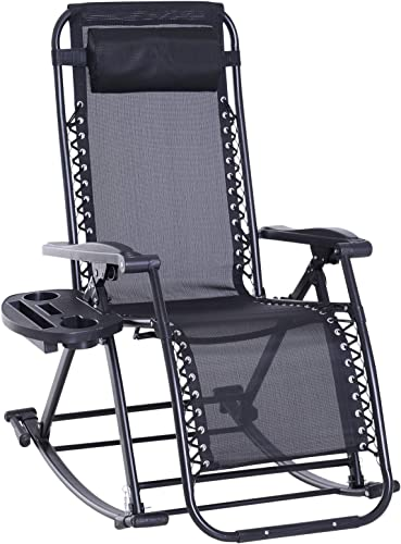 Outsunny Folding Zero Gravity Rocking Lounge Chair with Cup Holder Tray – Black