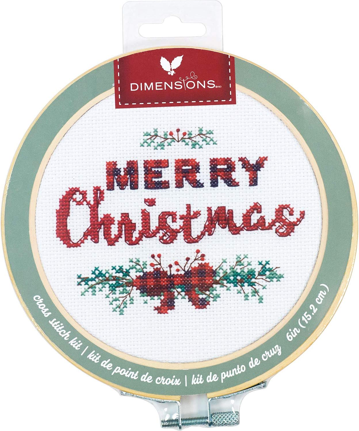 White 14 Count Aida Dimensions 72-76043 Kit 6 Embroidery Hoop Merry Christmas Cross Stitch