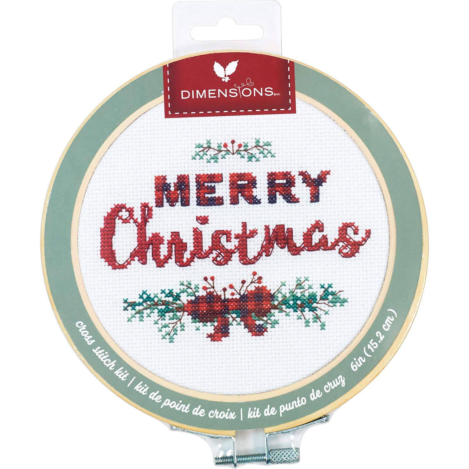 White 14 Count Aida 6 Embroidery Hoop Merry Christmas Cross Stitch Dimensions 72-76043 Kit