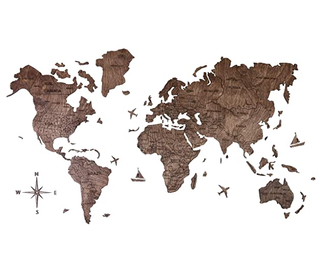 Amazon.com: Wood World Map Wooden with country names educational ...