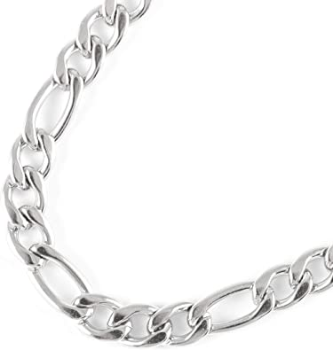 Available Size 8 to 32 Inch Sterling Silver Necklace 10mm High Polished Figaro Chain Necklace