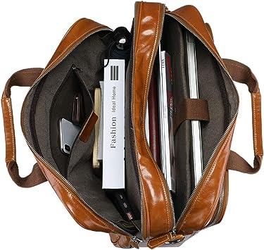 BAIGIO Mens Leather 17 Inches Laptop Business Briefcase Shoulder Tote Bag Portfolio Satchel Lawyers Briefcases for Men Black