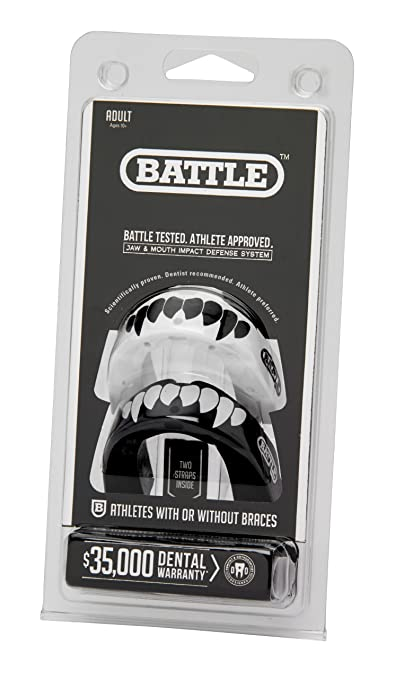 Battle Fang Mouth Guard (2-Pack), Black/White, Youth