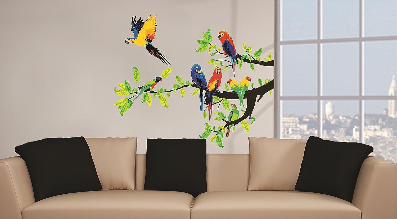 Tatuaggi a muro per camerette bambini Decorazione murale moderna camera per bambini Set adesivi decorativi da muro 2 x 70x50cm Pappagalli Adesivo da muro camerette saloni