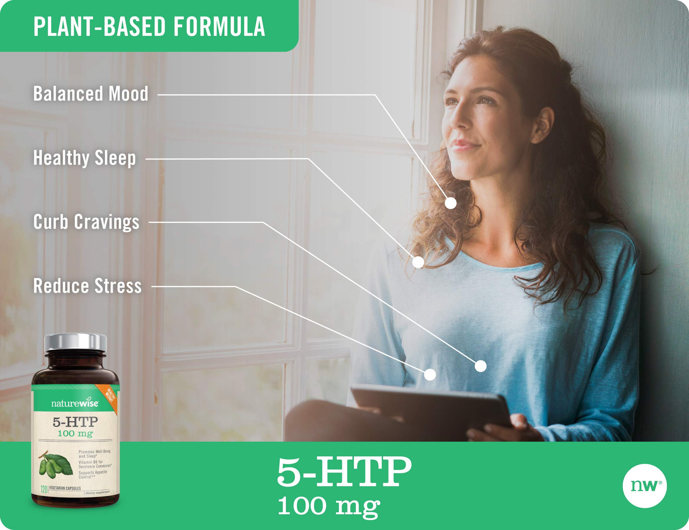 NatureWise 5-HTP 100mg   Natural Mood & Sleep Support   Curbs Appetite to Support Weight Loss   Enhanced with Vitamin B6   Non-GMO, Gluten Free, Vegetarian (Packaging May Vary) [2 Month - 120 Count]