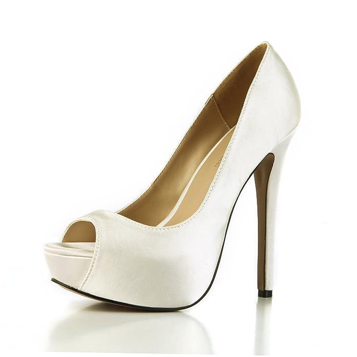 CHMILE CHAU-Zapatos para Mujer-Zapatillas de Tacon Alto de Aguja-Talón Delgado-Sexy-Moda-Novia o Dama-Boda-Nupcial-Vestido de Fiesta-Punta Abierta-Plataforma 3cm