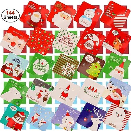 HOWAF 144 Piezas pequeño Tarjetas de Navidad, Feliz Navidad ...
