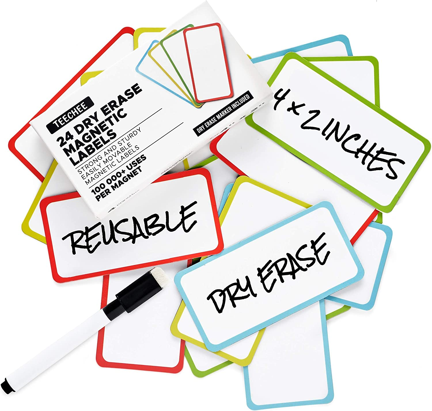 24 Magnetic Dry Erase Labels 4x2 inches by TeeChee + Dry Erase Marker | Reusable Dry Erase Magnets | for Homeschool, Office, Classroom, Household | Use on Whiteboards and Other Magnetic Surfaces