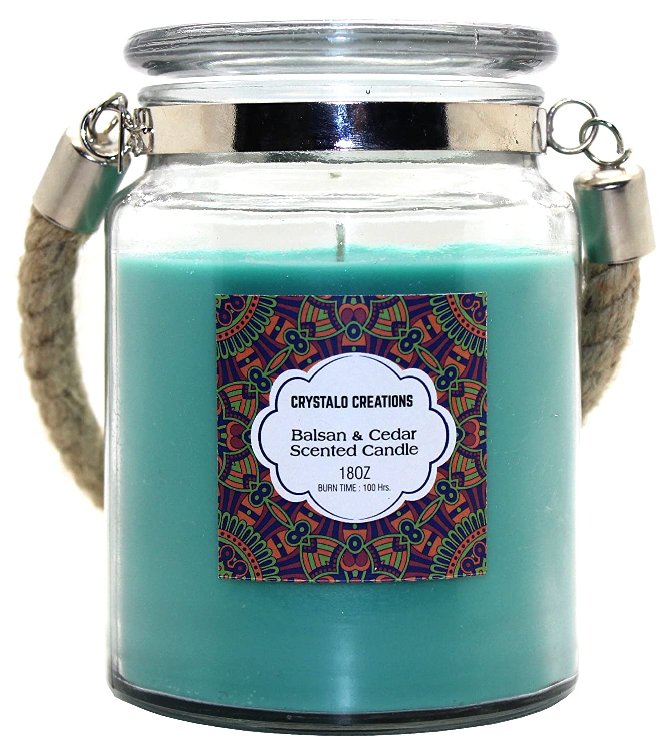 18 Ounce Crystalo Creations Balsam /& Cedar Scented Candle with Rope Handle