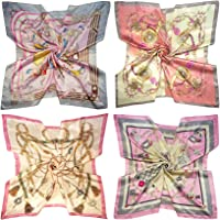 "LilMents 4 Mixed Designs Large 35"" × 35"" Square Polyester Satin Neck Head Scarf Scarves Set"