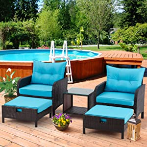 AVAWING 5 Piece Patio Furniture Set, Outdoor Wicker Rattan Conversation Set with Ottoman & Table, for Garden, Patio, Balcony, Beach, Blue