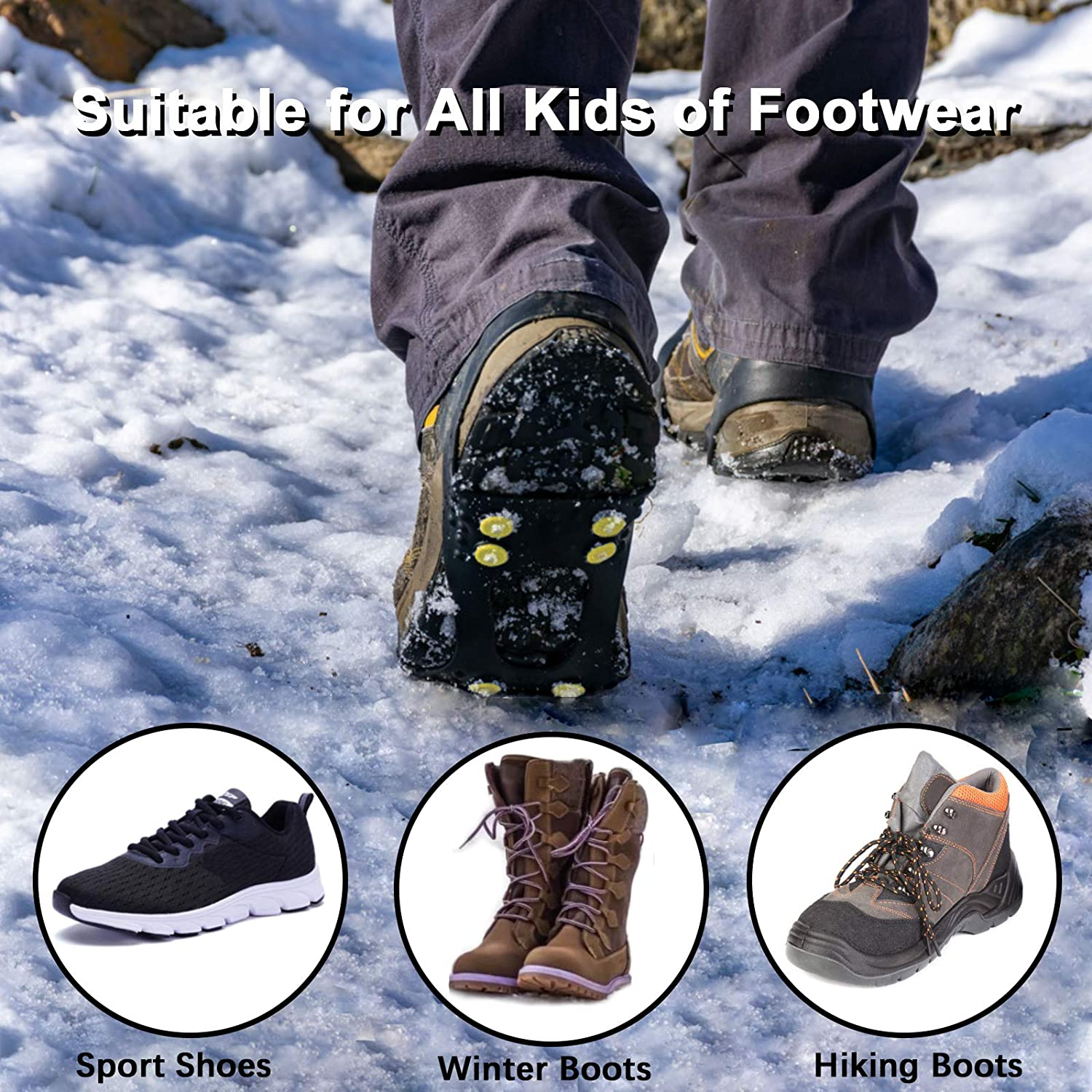 Note: Shoes NOT Included Extra 20 Studs Traction Cleat Anti Slip 10-Stud Crampons for Shoe//Boot Slip-on Stretch Footwear Men /& Women U UZOPI Ice /& Snow Grips