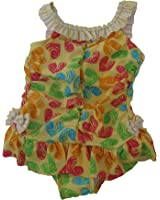 Absorba One-piece Swimsuit Girls Size 3t Yellow/hearts
