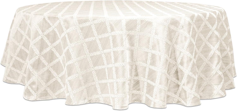 Lenox Laurel Leaf Oval 70 X 86 Tablecloth- Cranberry