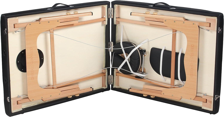 Heaven Massage Extra Wide 3 Portable Folding Massage Table Comfort Series w Carry Case Strap Black