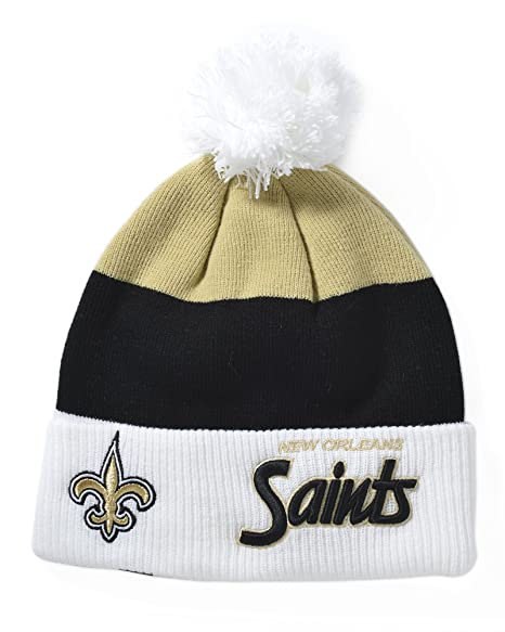 d95c25af7fb196 Amazon.com : NFL New Orleans Saints Cuff Scripter Knit Hat : Sports Fan  Beanies : Clothing