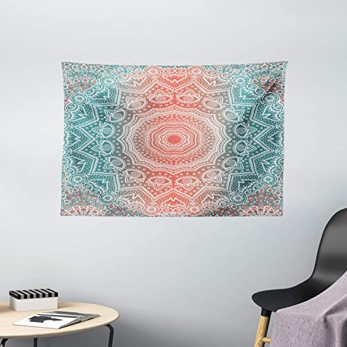 Ambesonne Coral and Teal Tapestry, Modern Tribal Mandala Tibetan Healing Motif with Floral Geometric Ombre Art, Wide Wall Hanging for Bedroom Living Room Dorm, 60 X 40 , Coral Teal