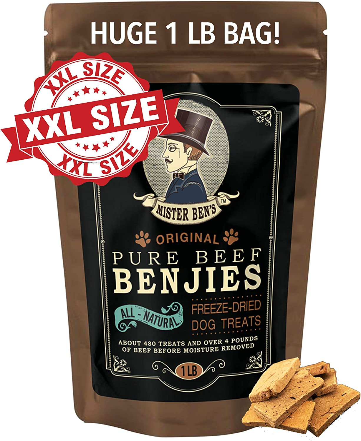 Mister Ben s Original Premium Pure Beef Benjies XXL 1 Pound Bag – Freeze Dried 100 Beef Dog Treats – Only 1 Ingredient – All Natural Luxury Beef Liver Snacks for Dogs – Approx 500 Treats