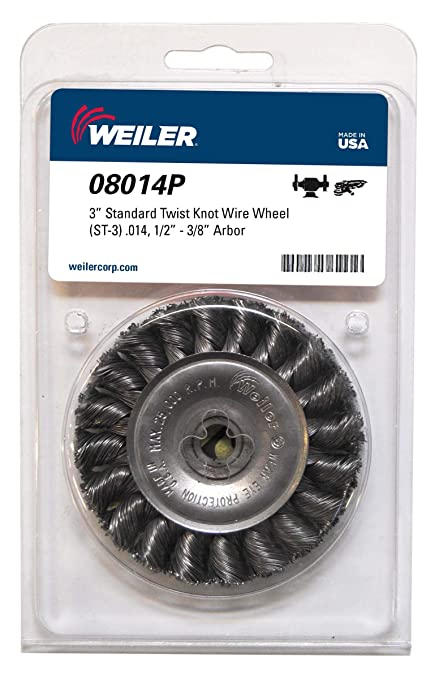 """Weiler 3AC09 2-3//4/"""" Steel Heavy-Duty 5//8/""""-11 Arbor Knot Wire Cup Brush"""