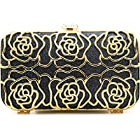 Tooba Handicraft Party Wear Beautiful Metal Diamond Rose Bling Box Clutch Bag Purse For Bridal, Casual, Party, Wedding