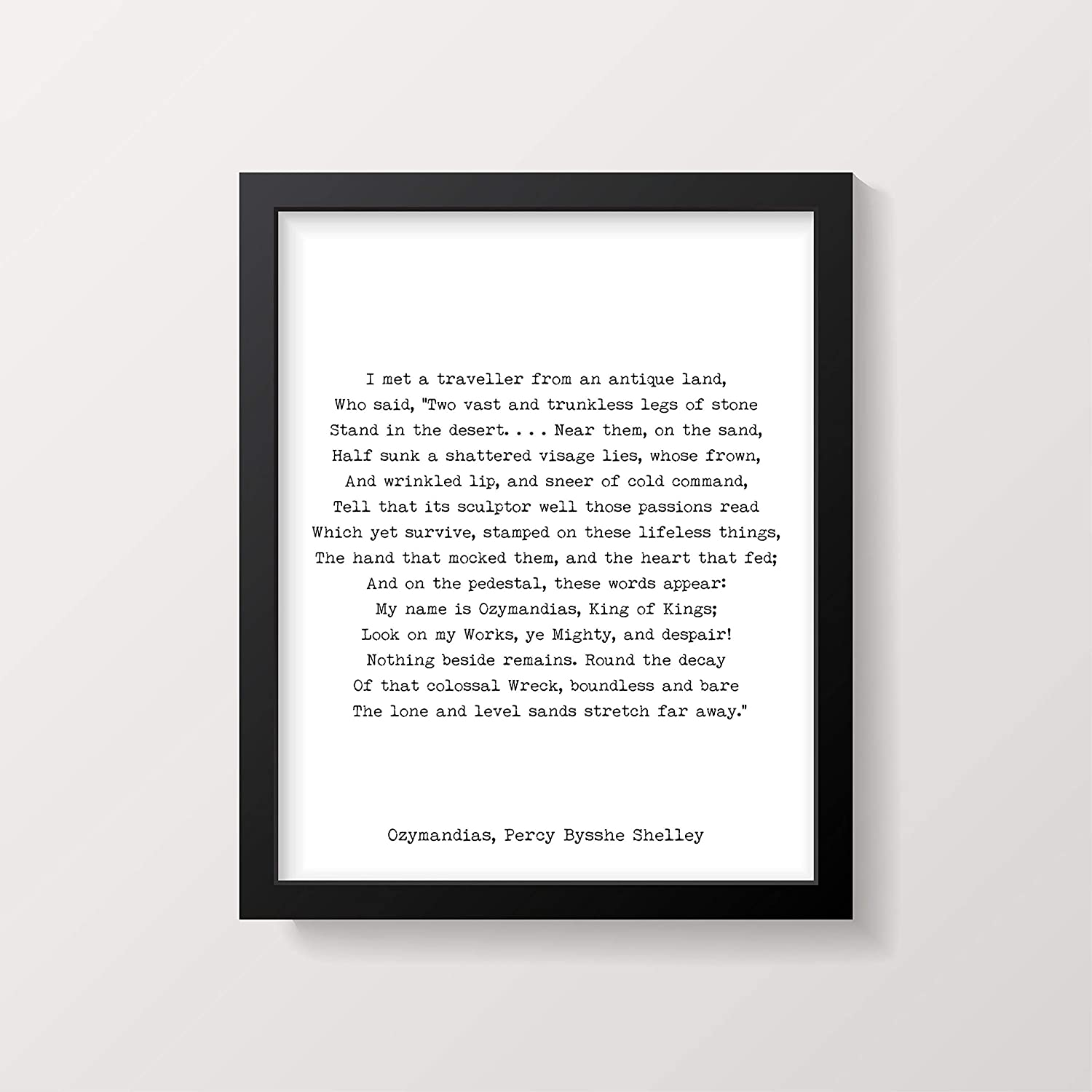 Arvier Ozymandias Poem Print Percy Bysshe Shelley Poetry Poster in Black White for Home Wall Decor FRAMED WALL ART