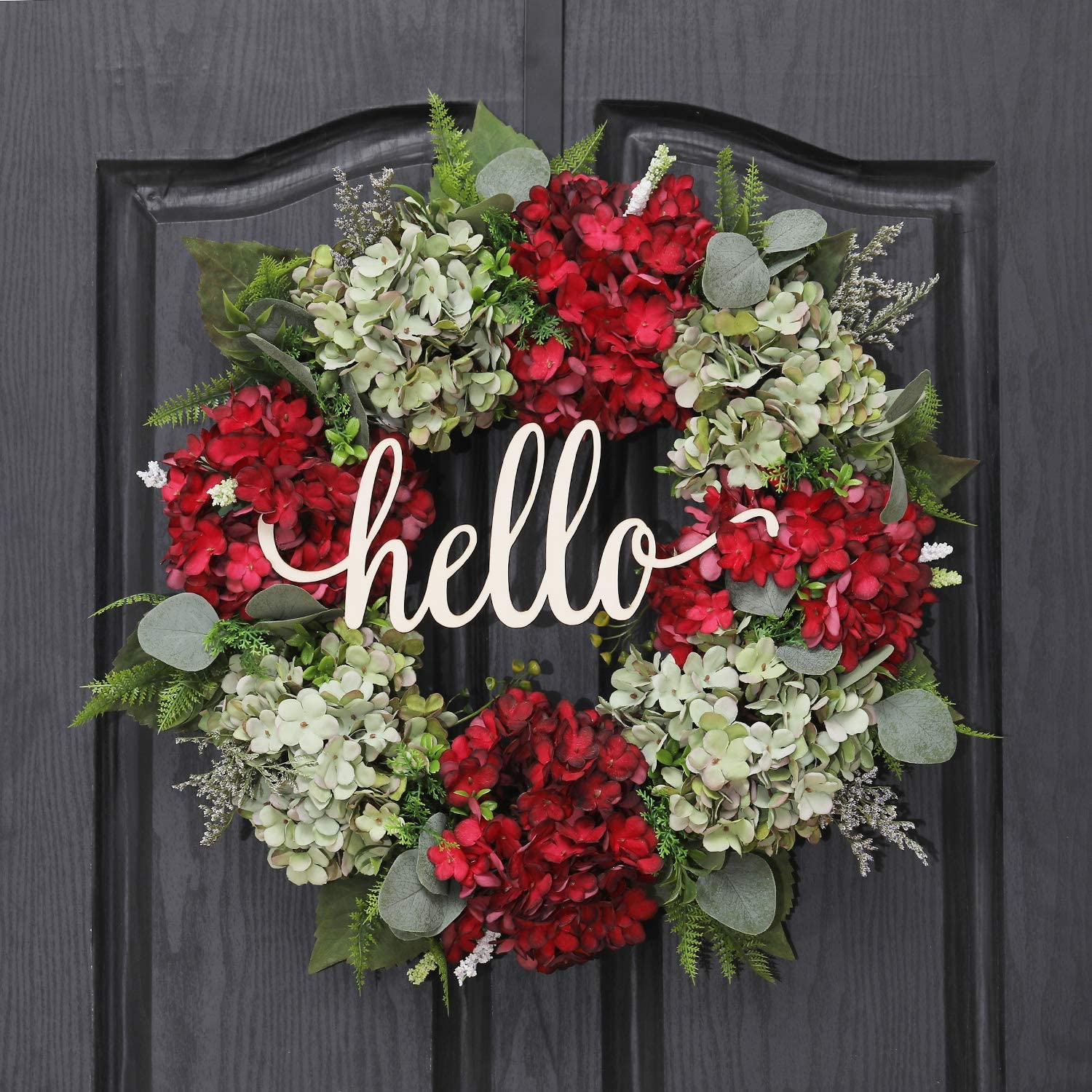 QUNWREATH Handmade Floral 18 inch Green Red Hydrangea Series Wreath,Gifts Package,Free Hooks,Front Door Rustic Wreath,Farmhouse Grapevine Wreath,Light up Wreath,Everyday Hello Wreath,QUNW52